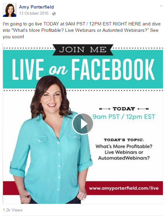 Live streaming is an easy way to remind people about your webinar.