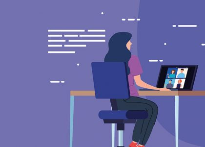An illustration of a woman attending a virtual unconference