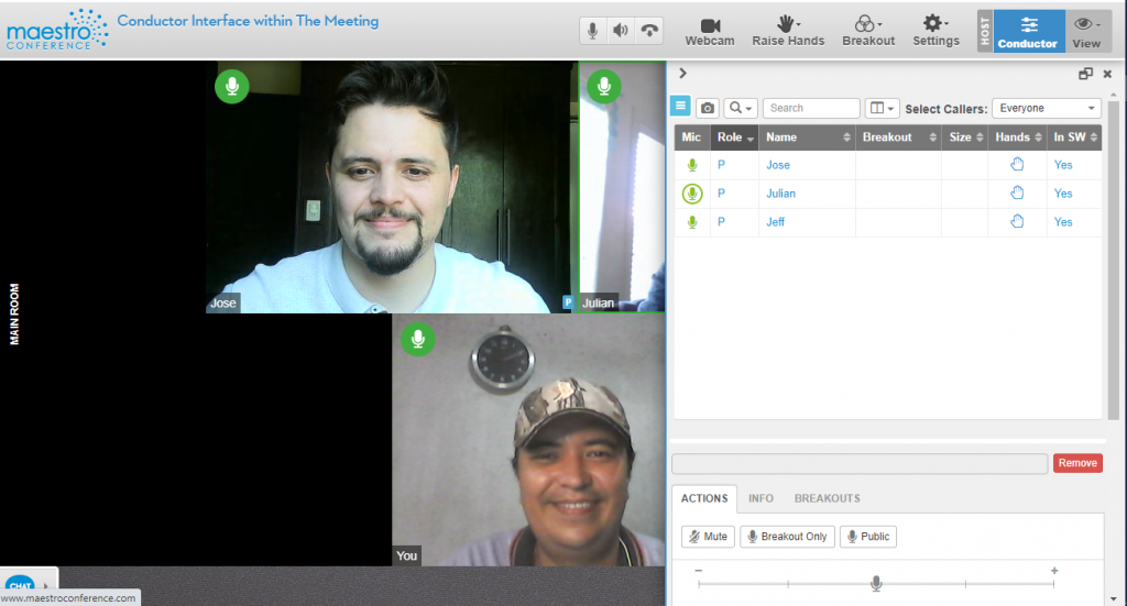 Better video breakouts on the fly from within the meeting using the Conductor Interface directly inside the Meeting
